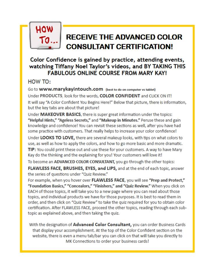 How to receive advanced color certificaton